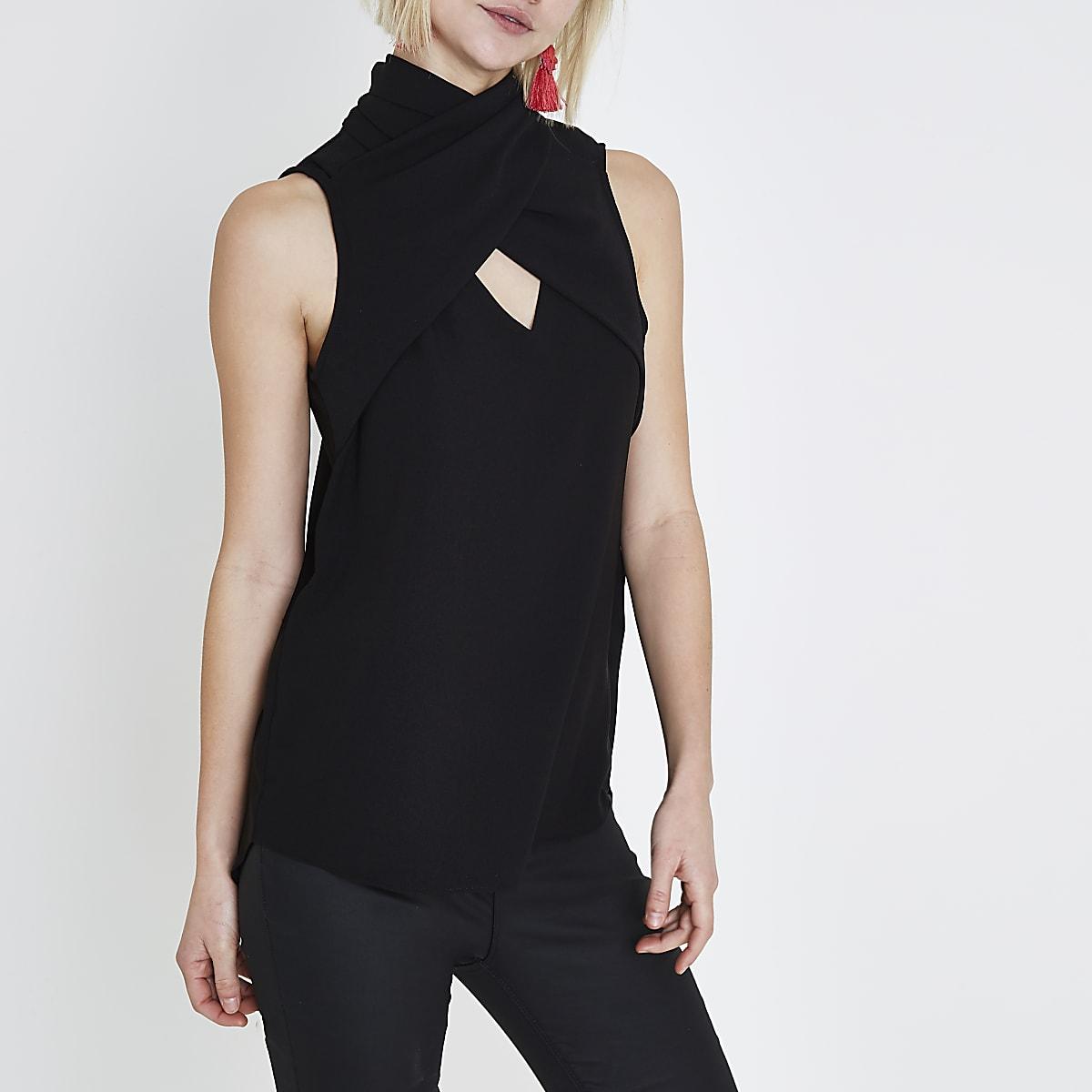 Black wrap neck sleeveless top