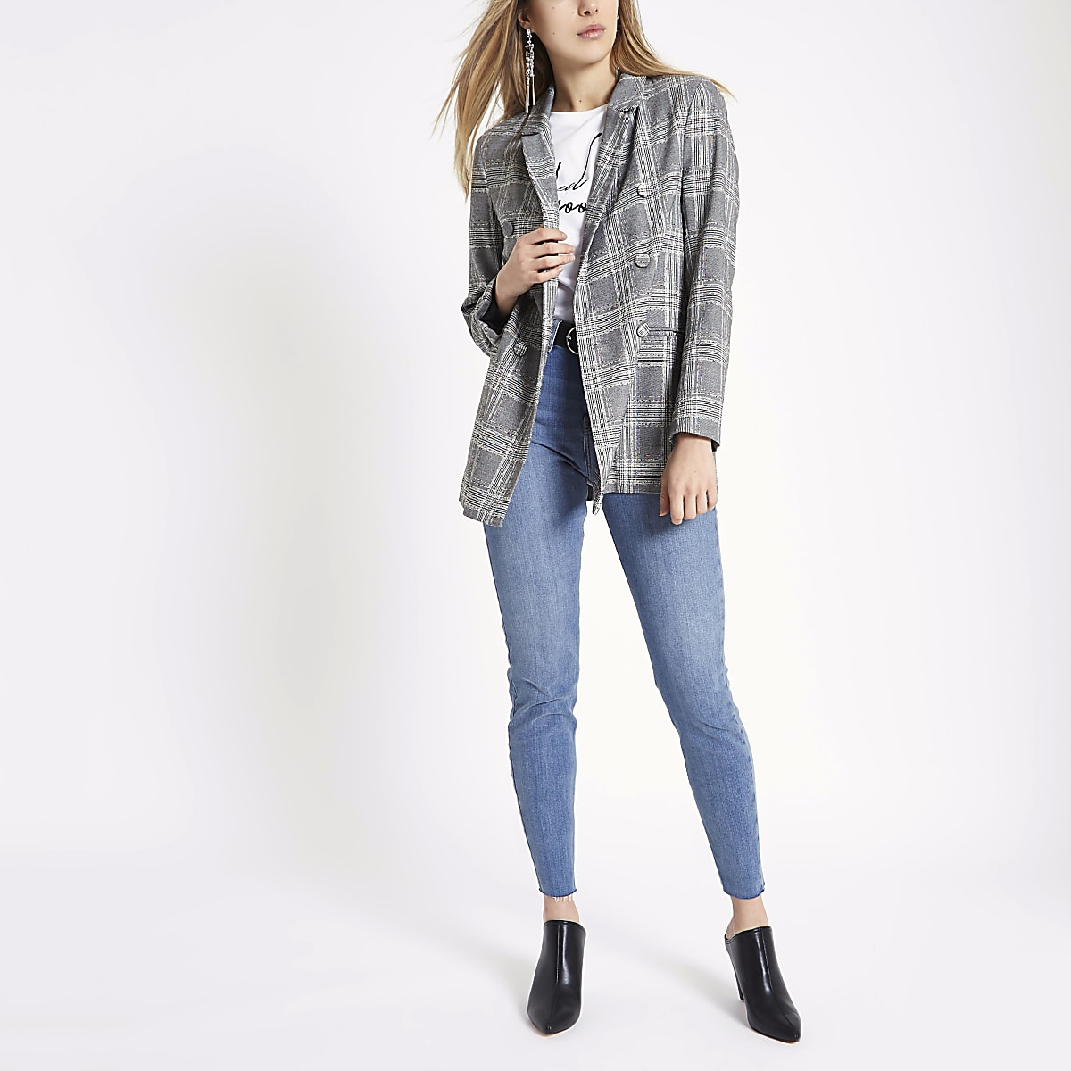 97d4b243 Grey check double breasted style blazer