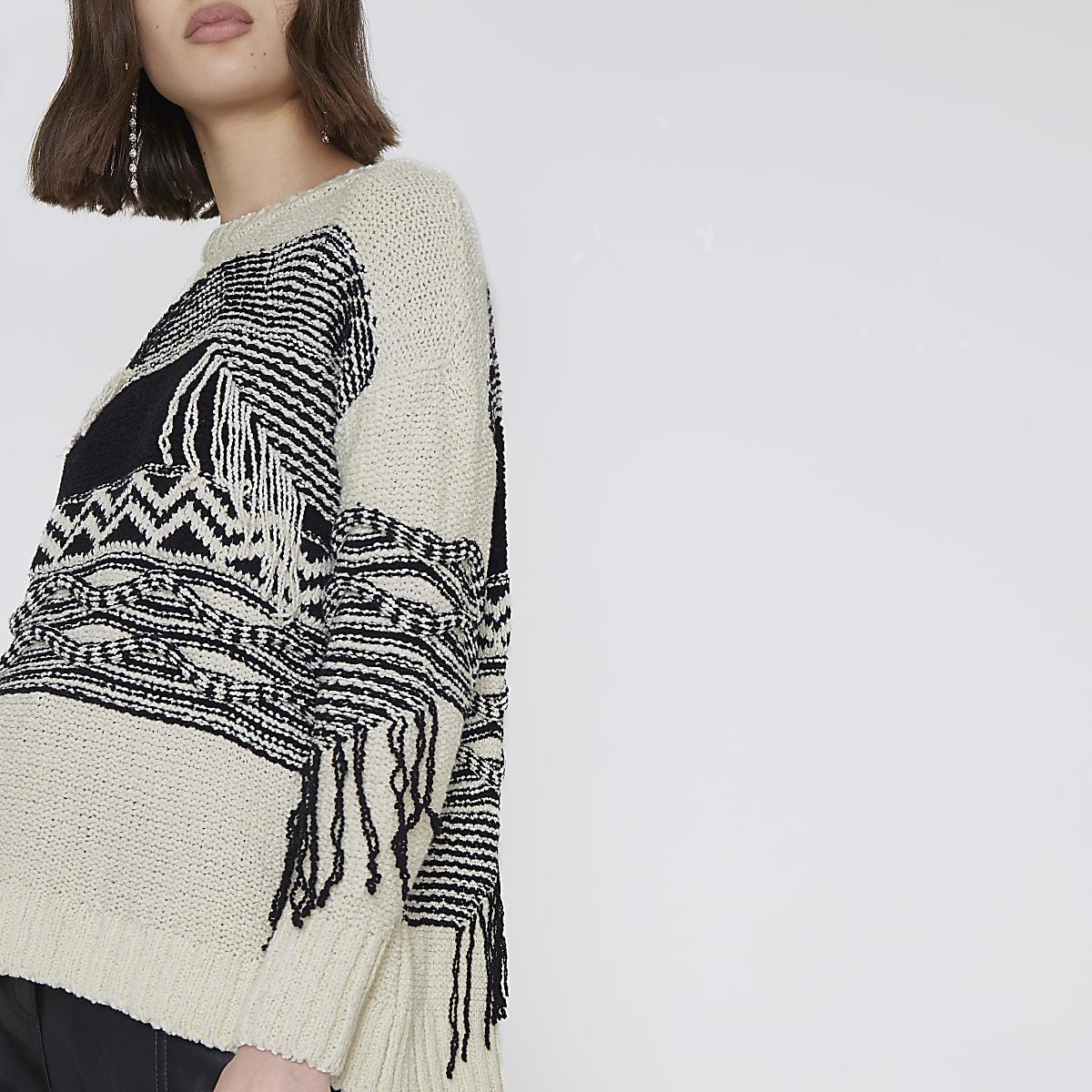 Cream and black print fringe jumper