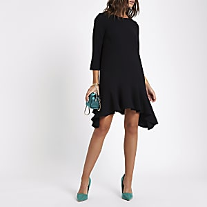 Black frill peplum hem swing dress