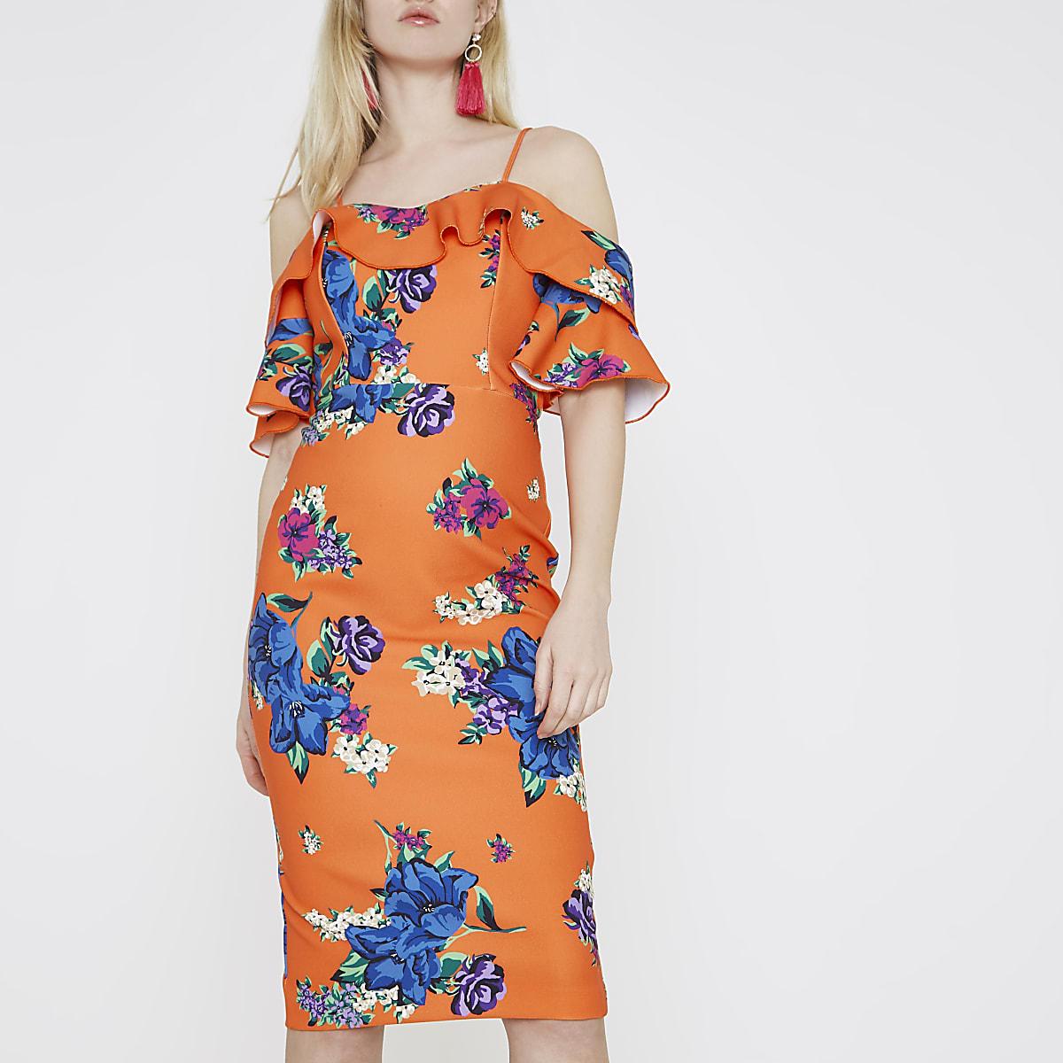 Orange floral cold shoulder bodycon dress