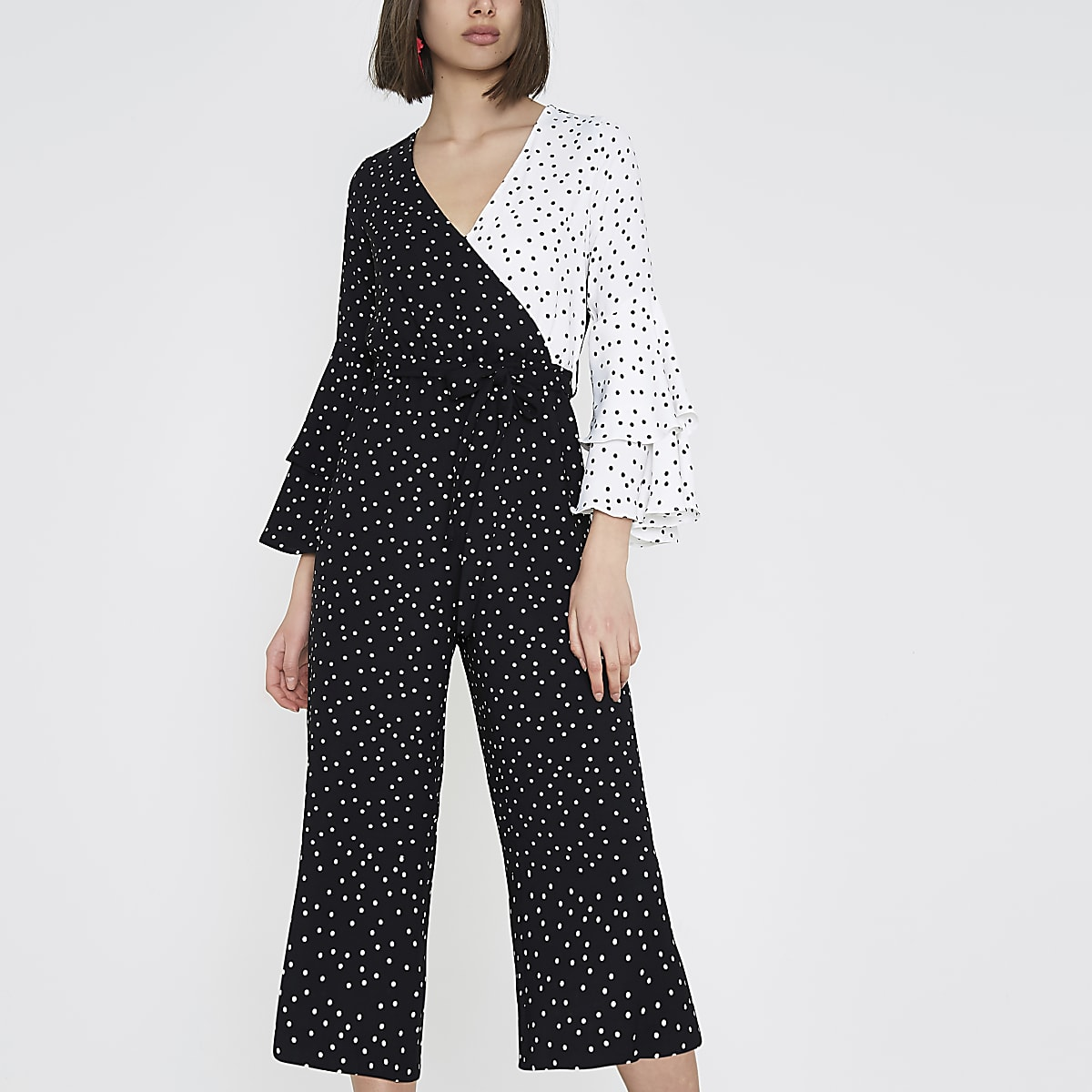 16229a3ab9 Black block polka dot frill culotte jumpsuit - Jumpsuits - Playsuits    Jumpsuits - women