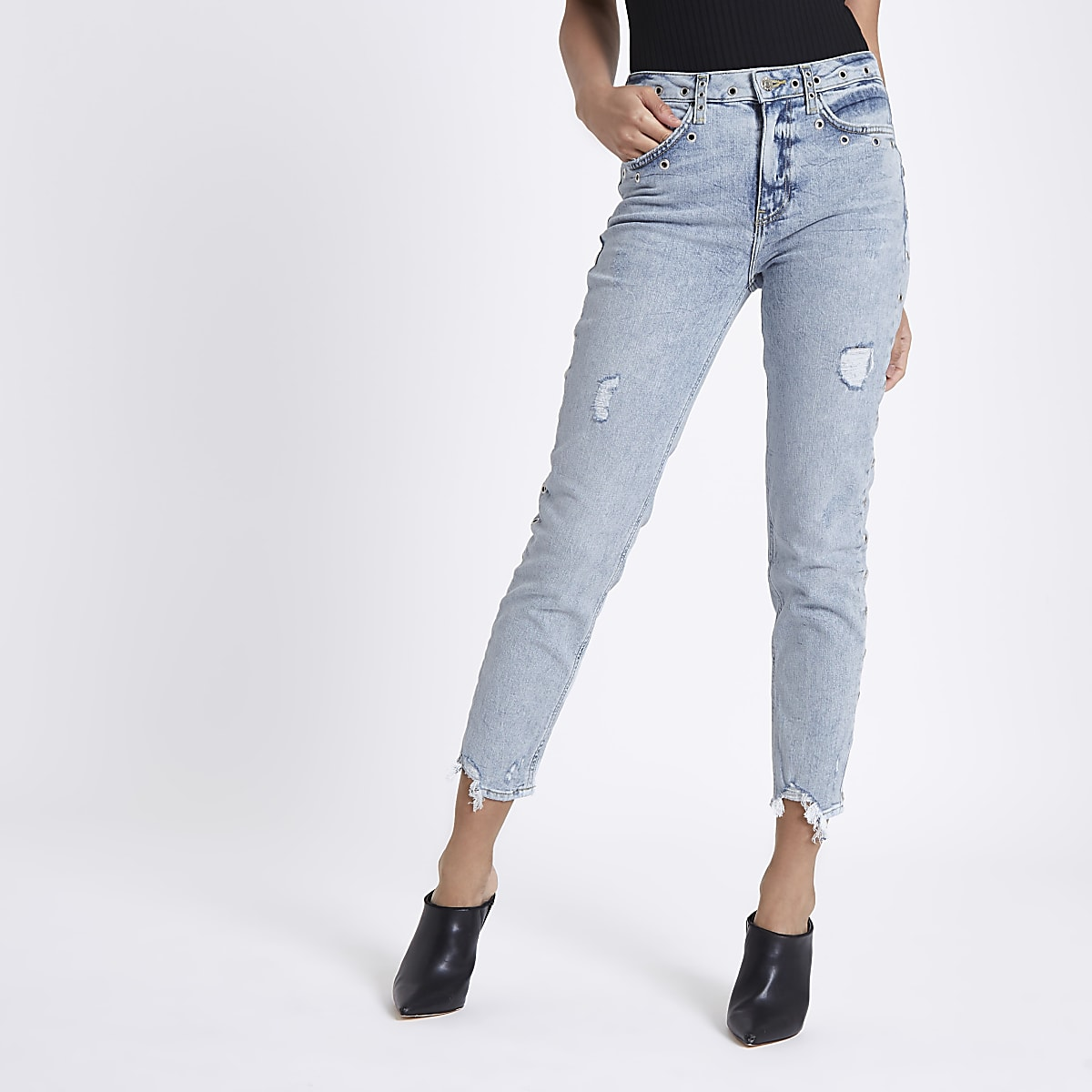 Light blue Casey eyelet slim fit jeans