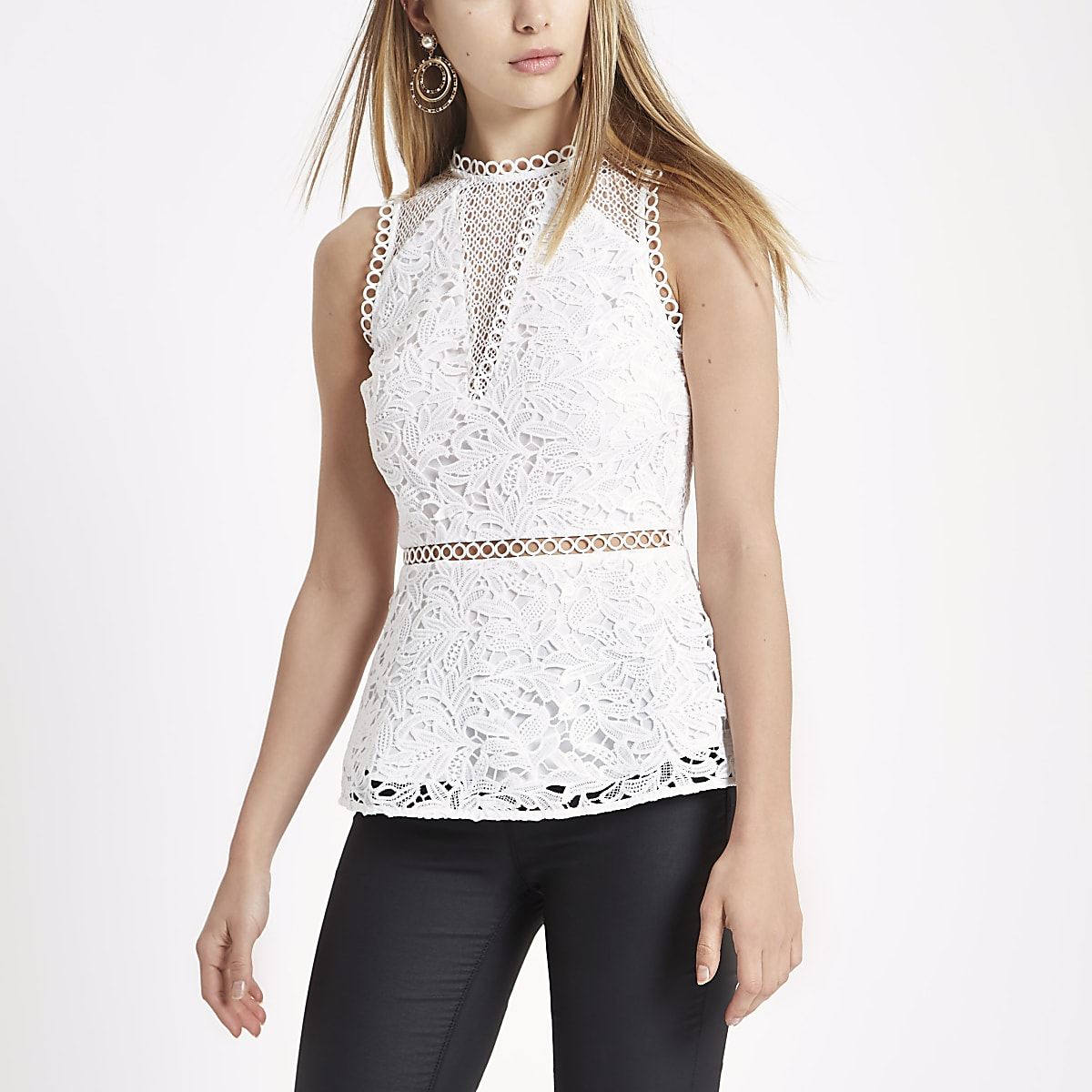 ba0148131c2b41 White lace sleeveless peplum top - Blouses - Tops - women
