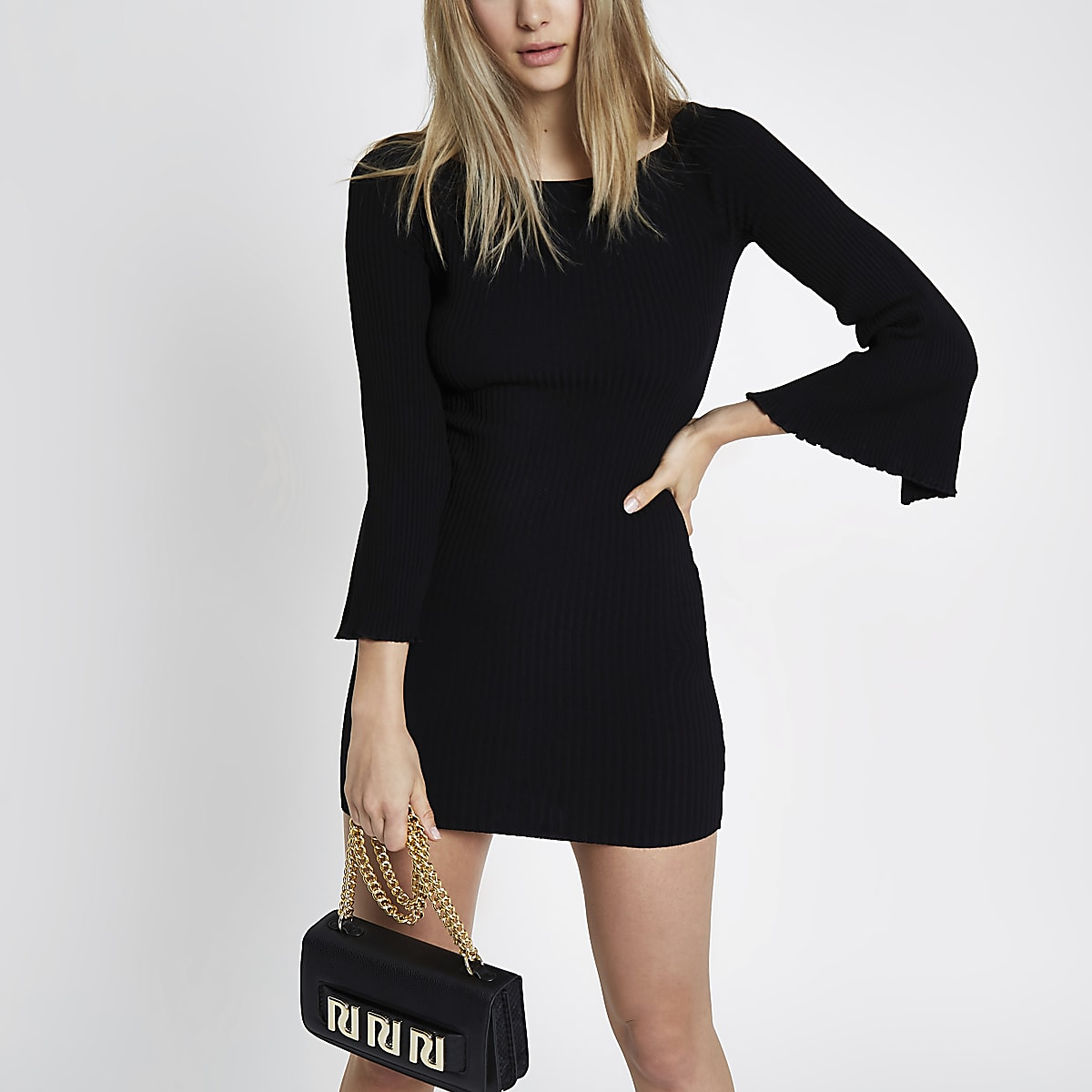 Black rib knit bardot bell sleeve dress