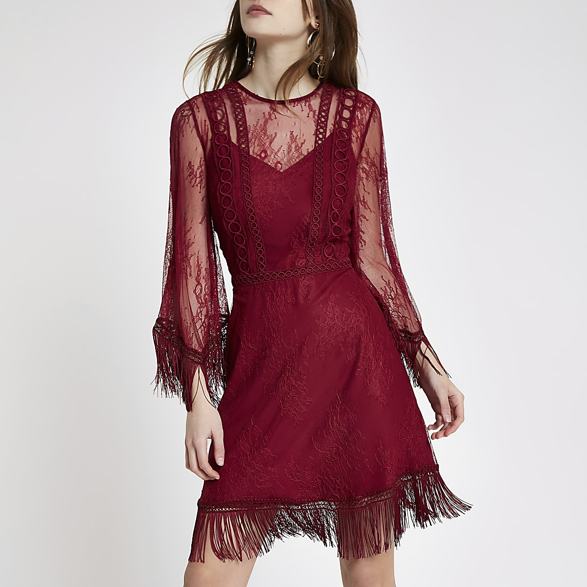 Dark red mesh lace fringe occasion dress