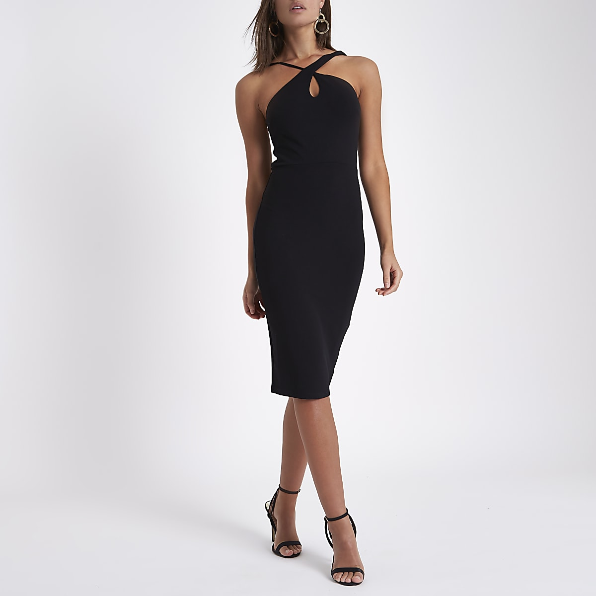 Black strappy cross neck bodycon midi dress