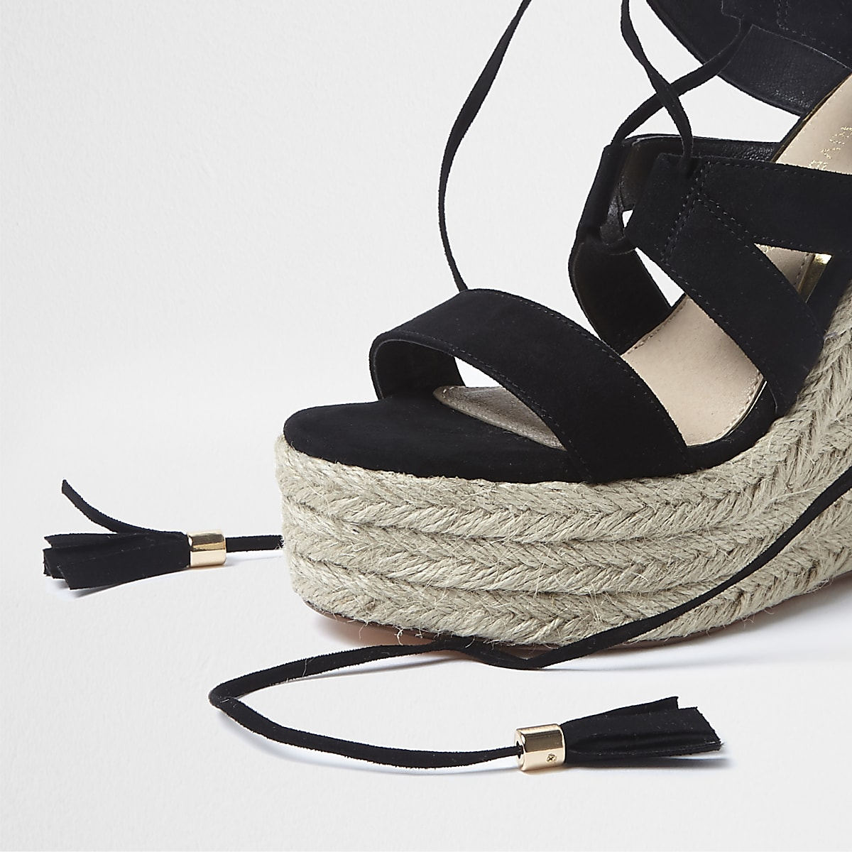 Black Espadrille Lace Wedges Sandals Up SMpqLUGzV