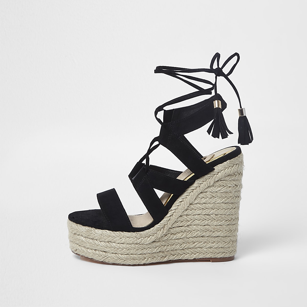 01082e2dc4d7 Black lace-up espadrille wedges sandals - Sandals - Shoes   Boots - women