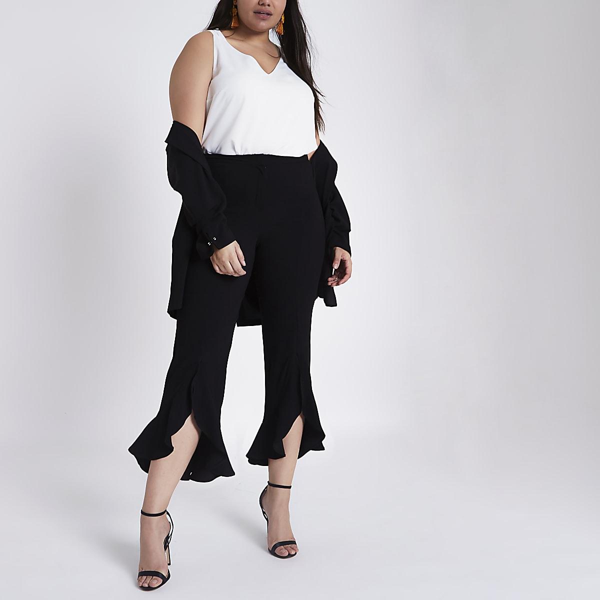 Plus black flare frill hem tailored trousers
