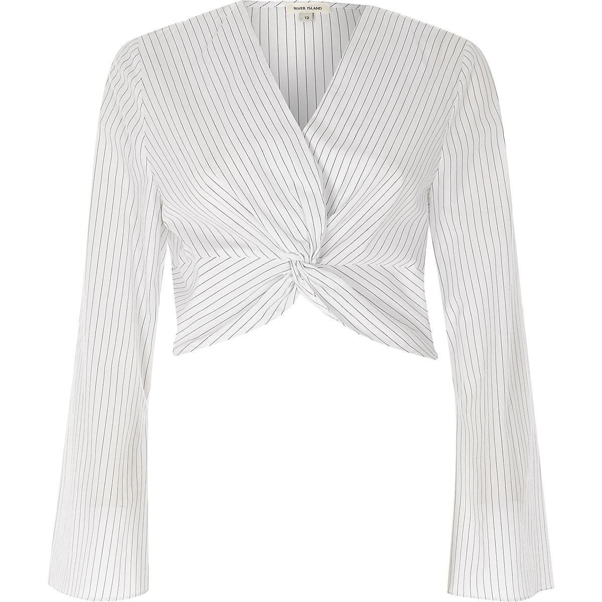154cfe9efa0d Cream stripe print knot long sleeve crop top - Crop Tops   Bralets - Tops -  women