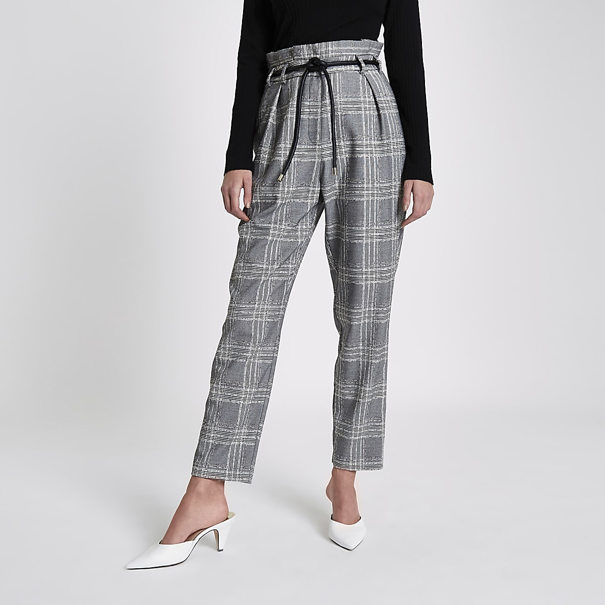 Black check tapered rope belt trousers
