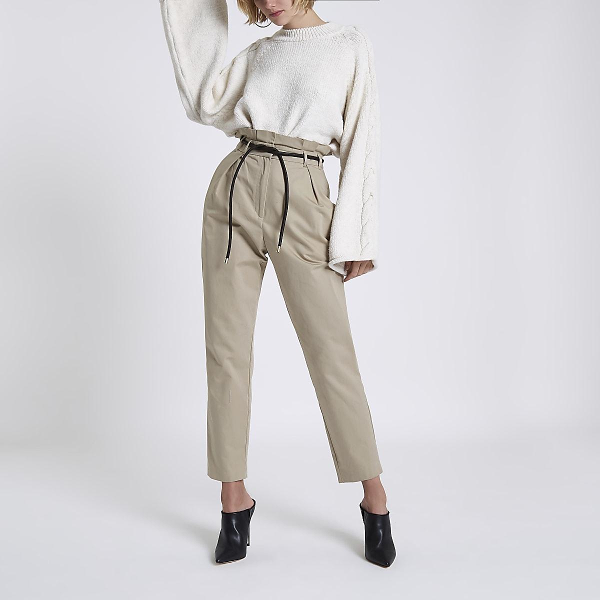 Beige paperbag waist tapered leg pants