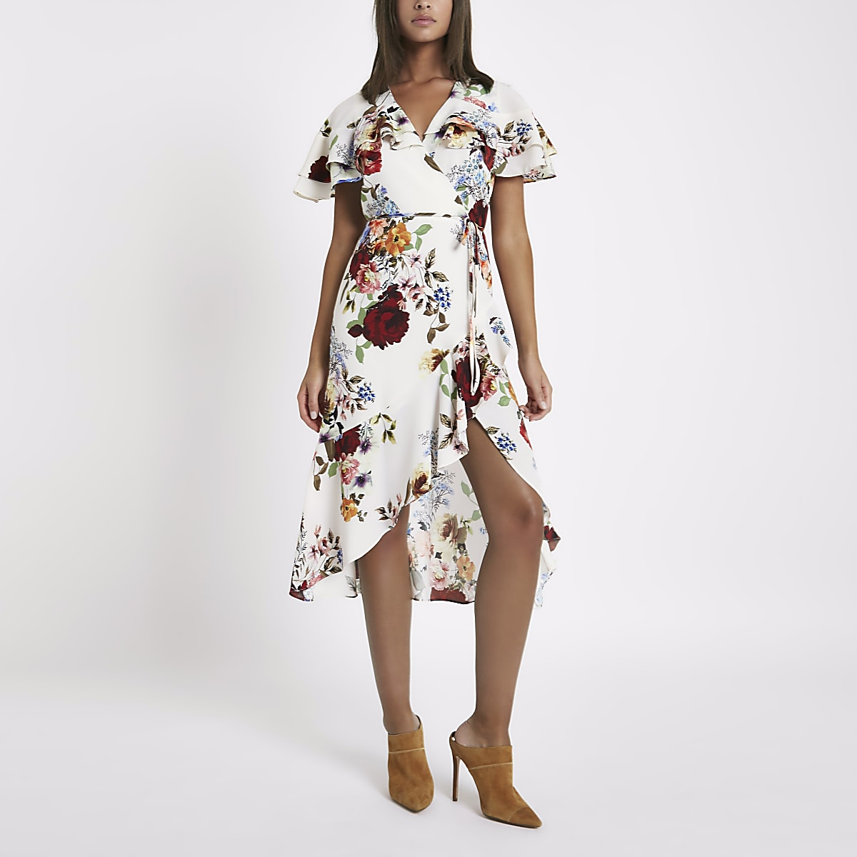 Cream floral frill wrap tie waist midi dress