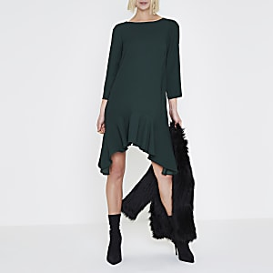 Dark green three quarter sleeve swing dress