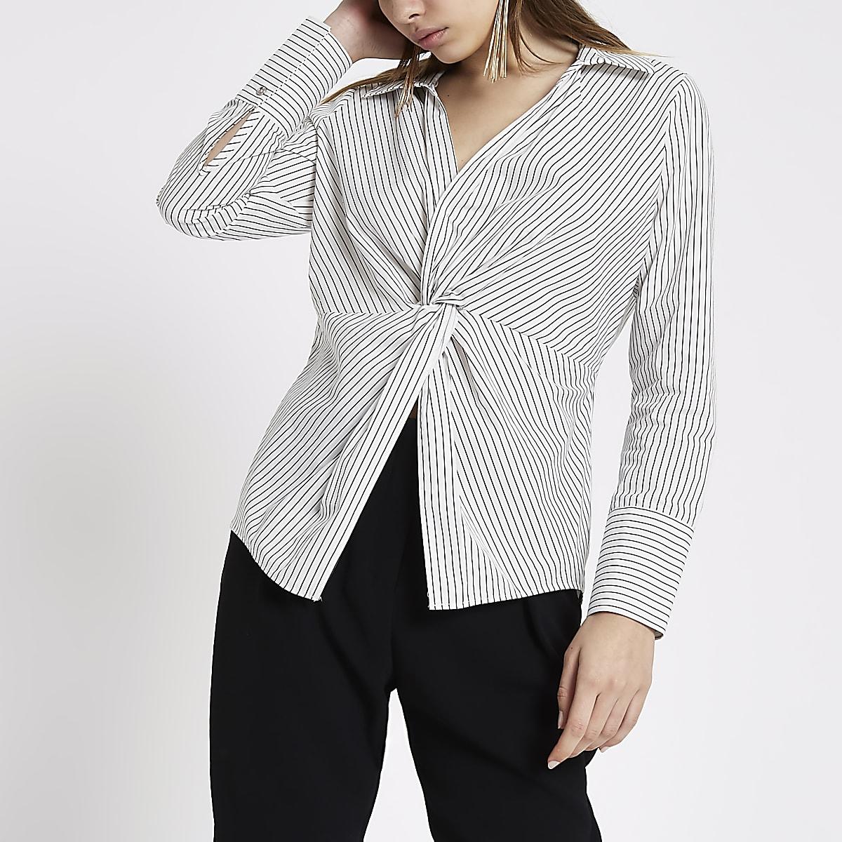 White stripe print knot front shirt