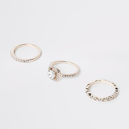 Rose gold colour diamante ring pack