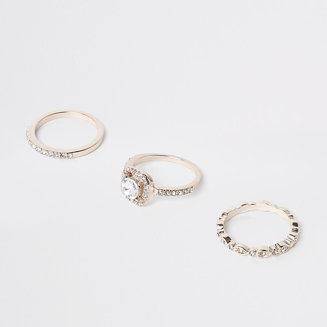 Rose gold colour diamante ring pack