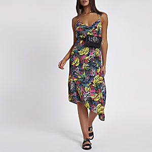 Pink banana print asymmetric hem beach dress