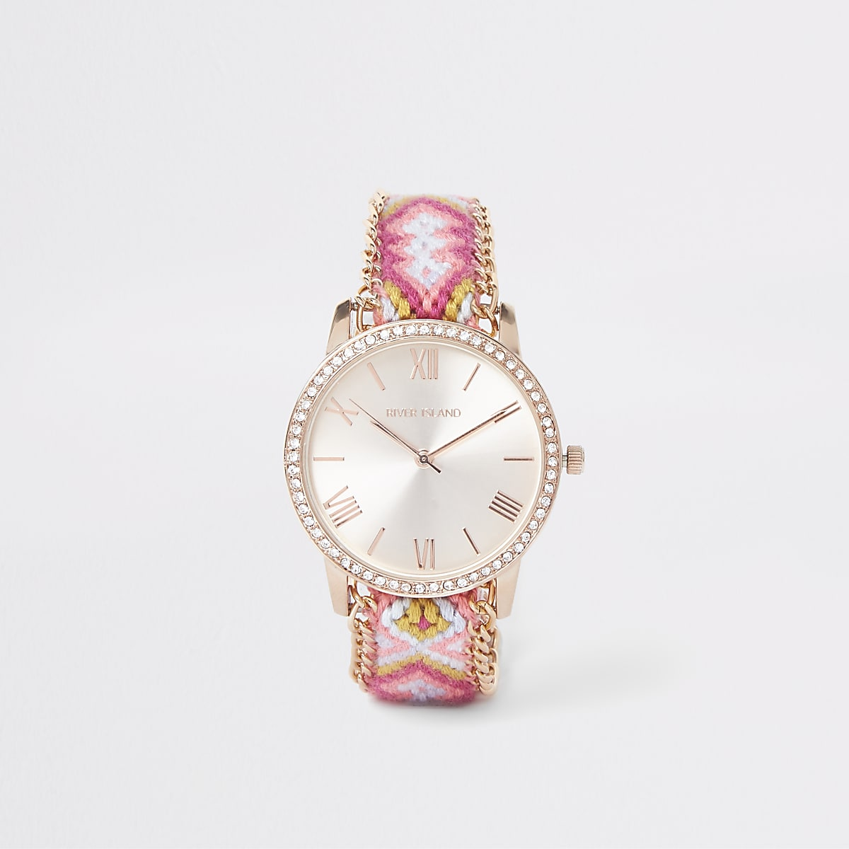 Pink woven round face rhinestone lariat watch
