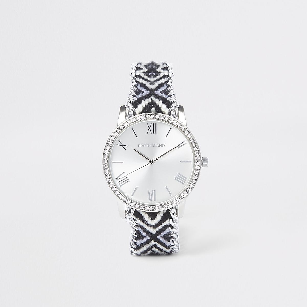 Schwarze Armbanduhr mit Print