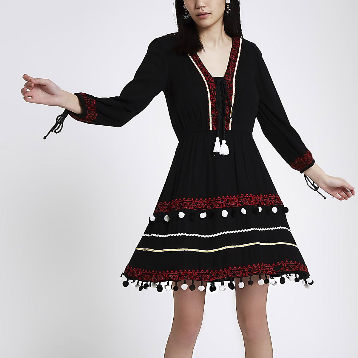 Black embroidered pom pom smock dress