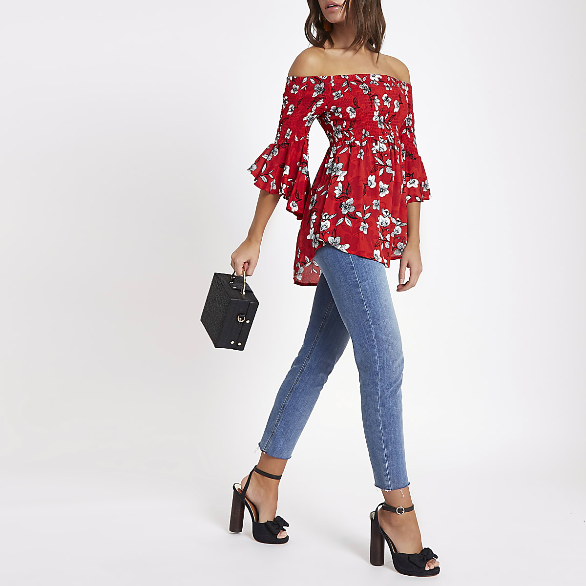 8f623436cd2 Red shirred floral bardot frill sleeve top - Bardot   Cold Shoulder Tops -  Tops - women