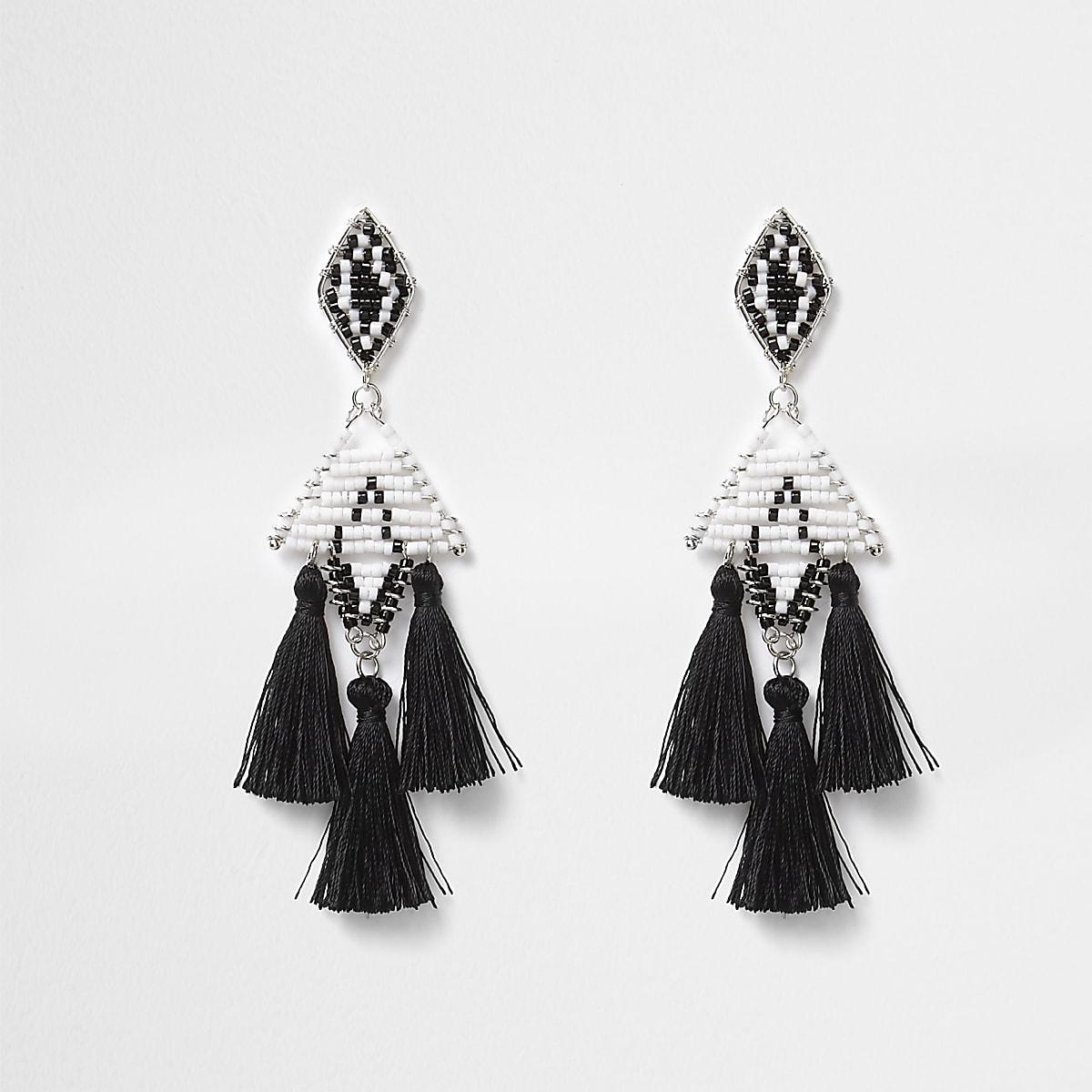 Black mono beaded tassel drop earrings