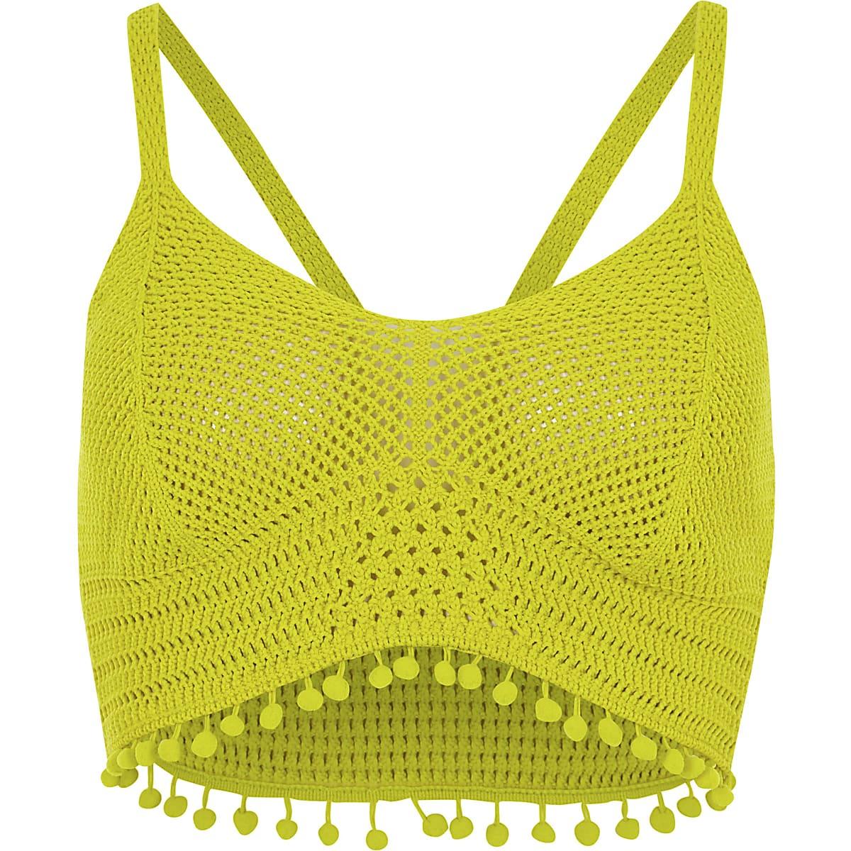 11e30e0889017 Petite Yellow crochet knit pom pom hem bralet - Crop Tops   Bralets ...