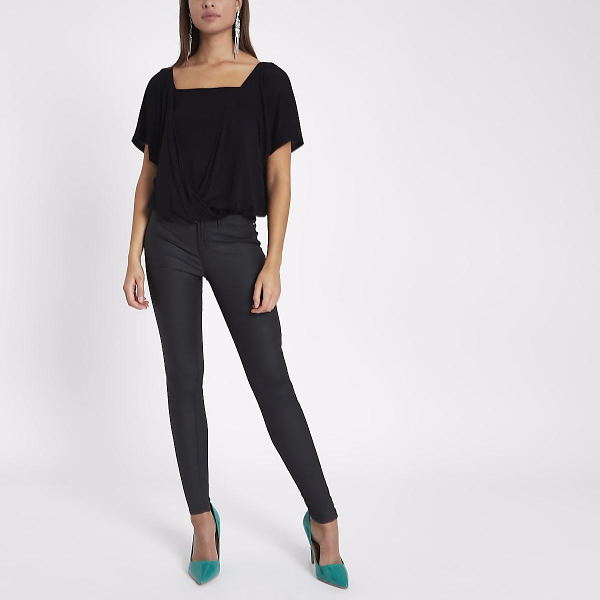 Black double layer batwing bodysuit