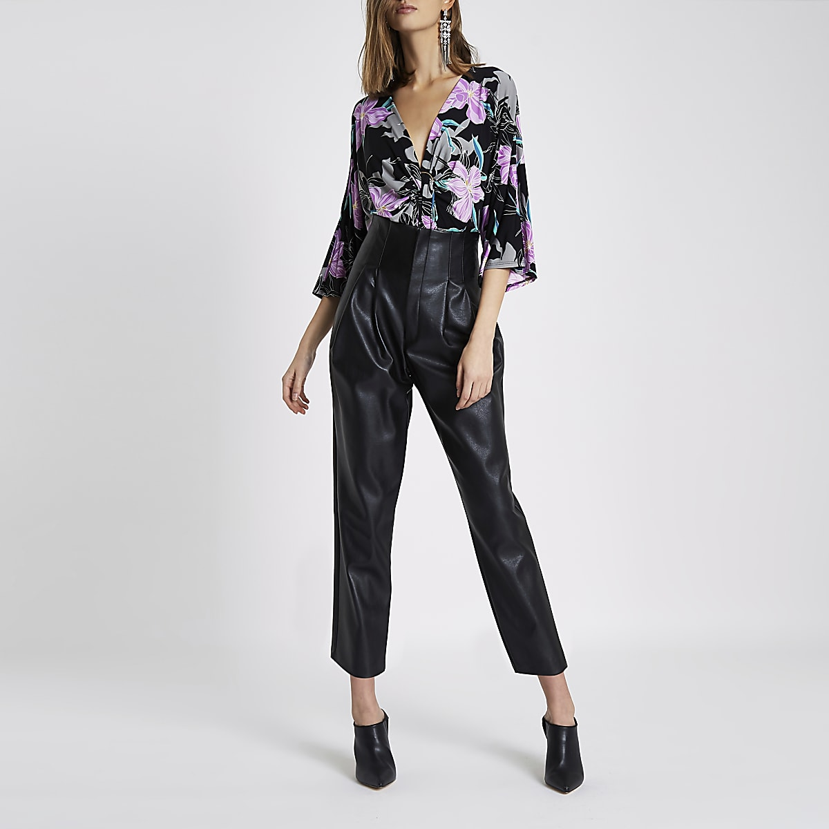Black floral print ring front bodysuit