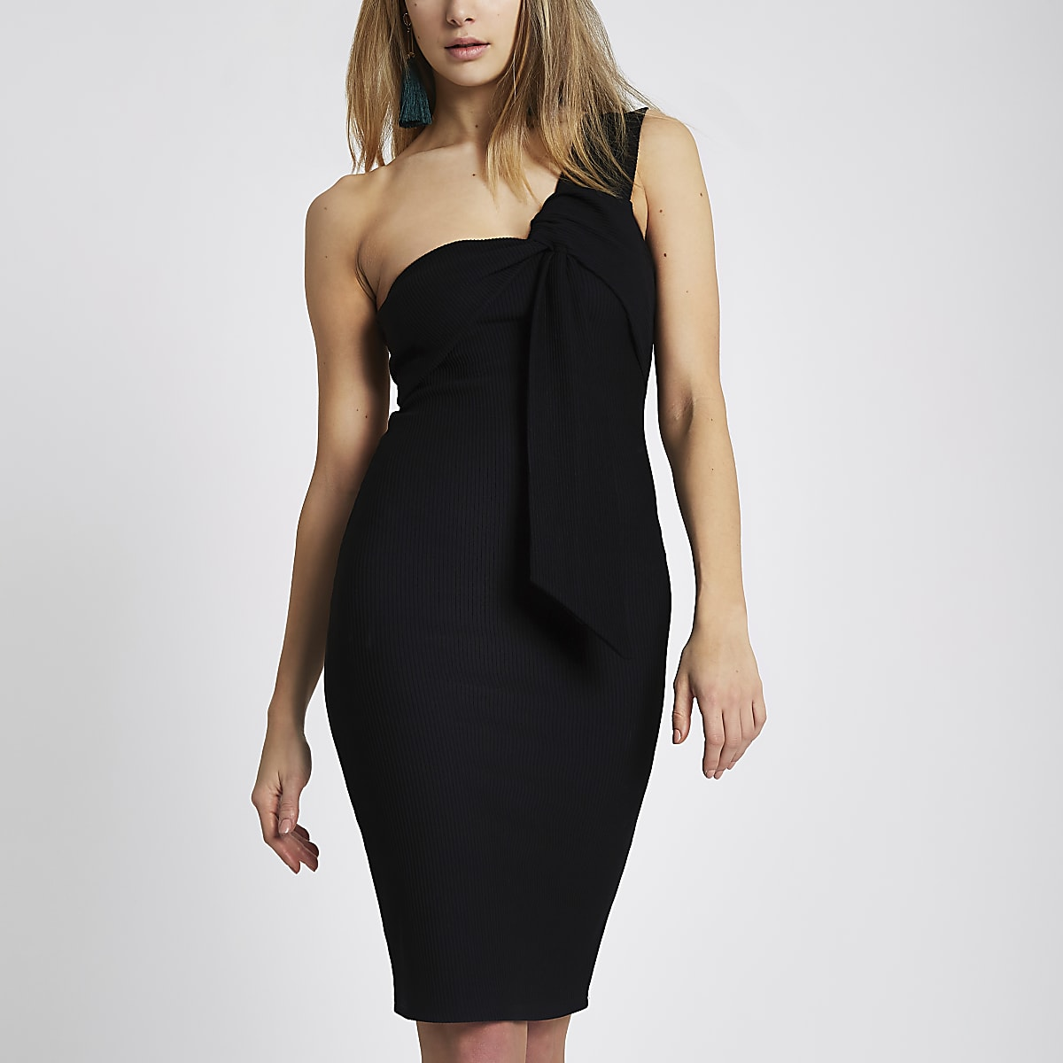 Black rib one shoulder twist midi dress
