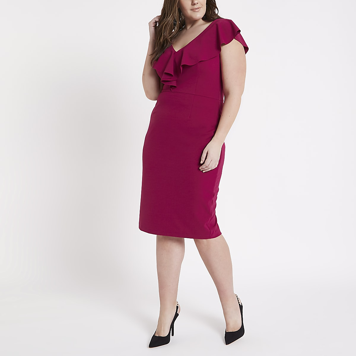 Plus pink ruffle plunge front bodycon dress