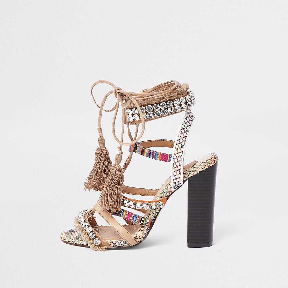 dafe358b2b Beige gem block heel sandals - Sandals - Shoes & Boots - women