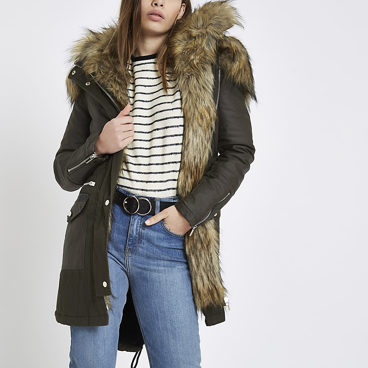 5cc0892fc Khaki faux fur trim parka coat | River Island