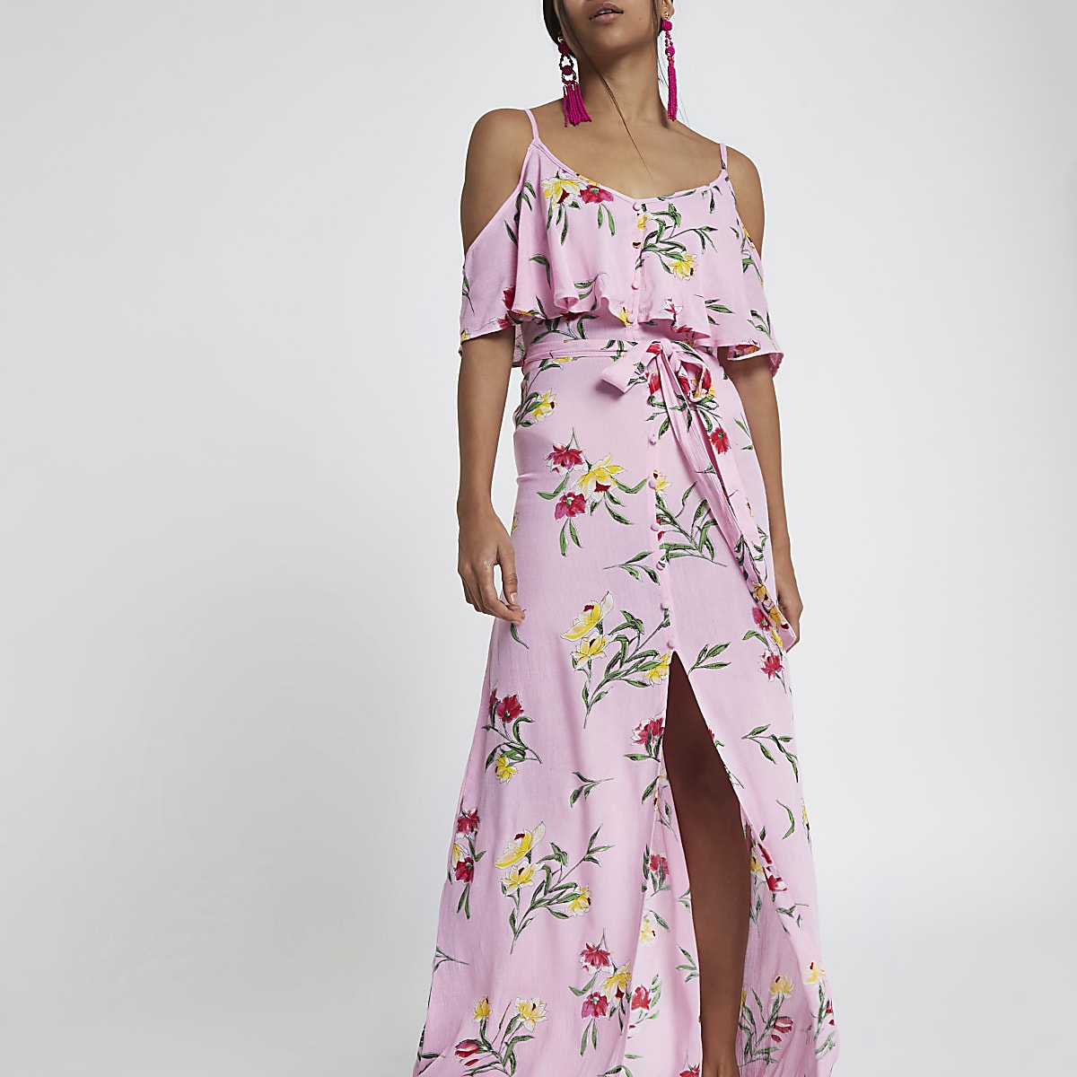 ded0fee8dce Petite pink floral button front maxi dress - Maxi Dresses - Dresses - women