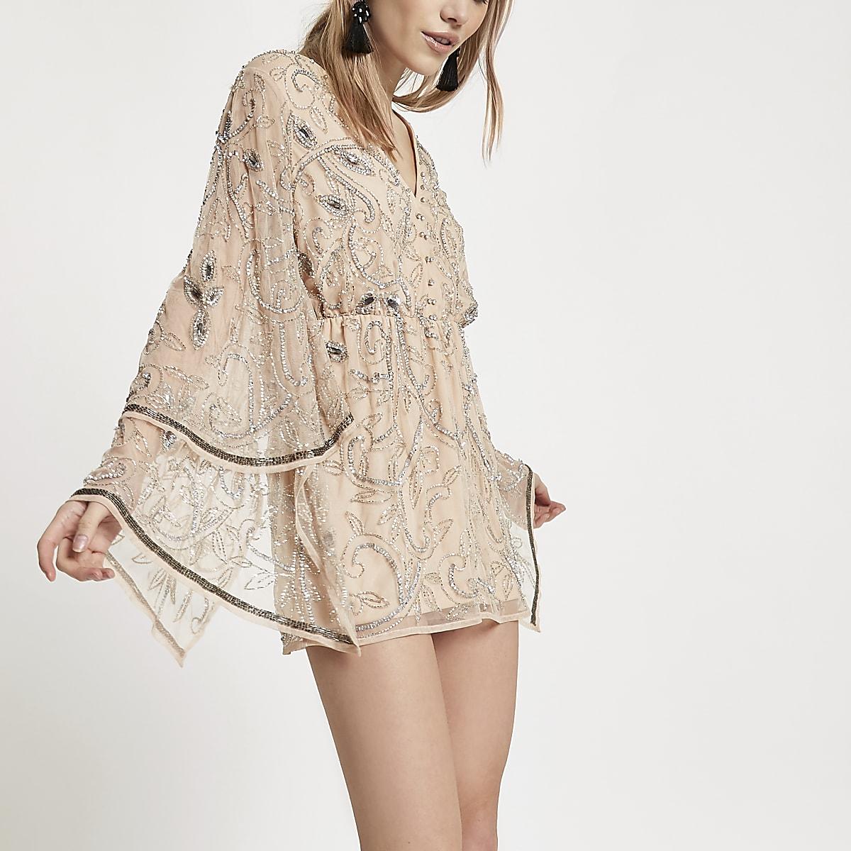 Petite cream embellished kimono playsuit