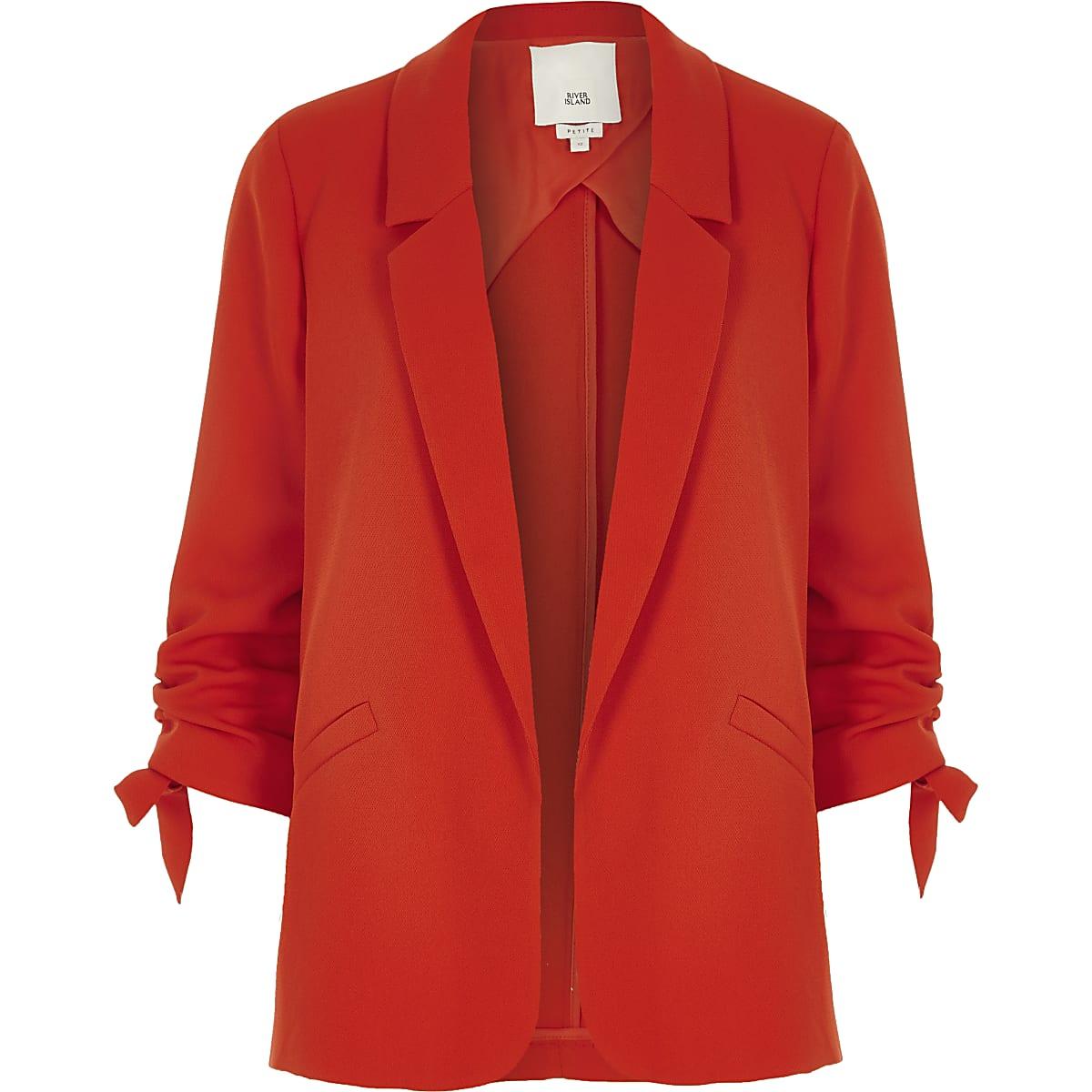 b30161b430e00 Petite red ruched sleeve blazer - Blazers - Coats & Jackets - women
