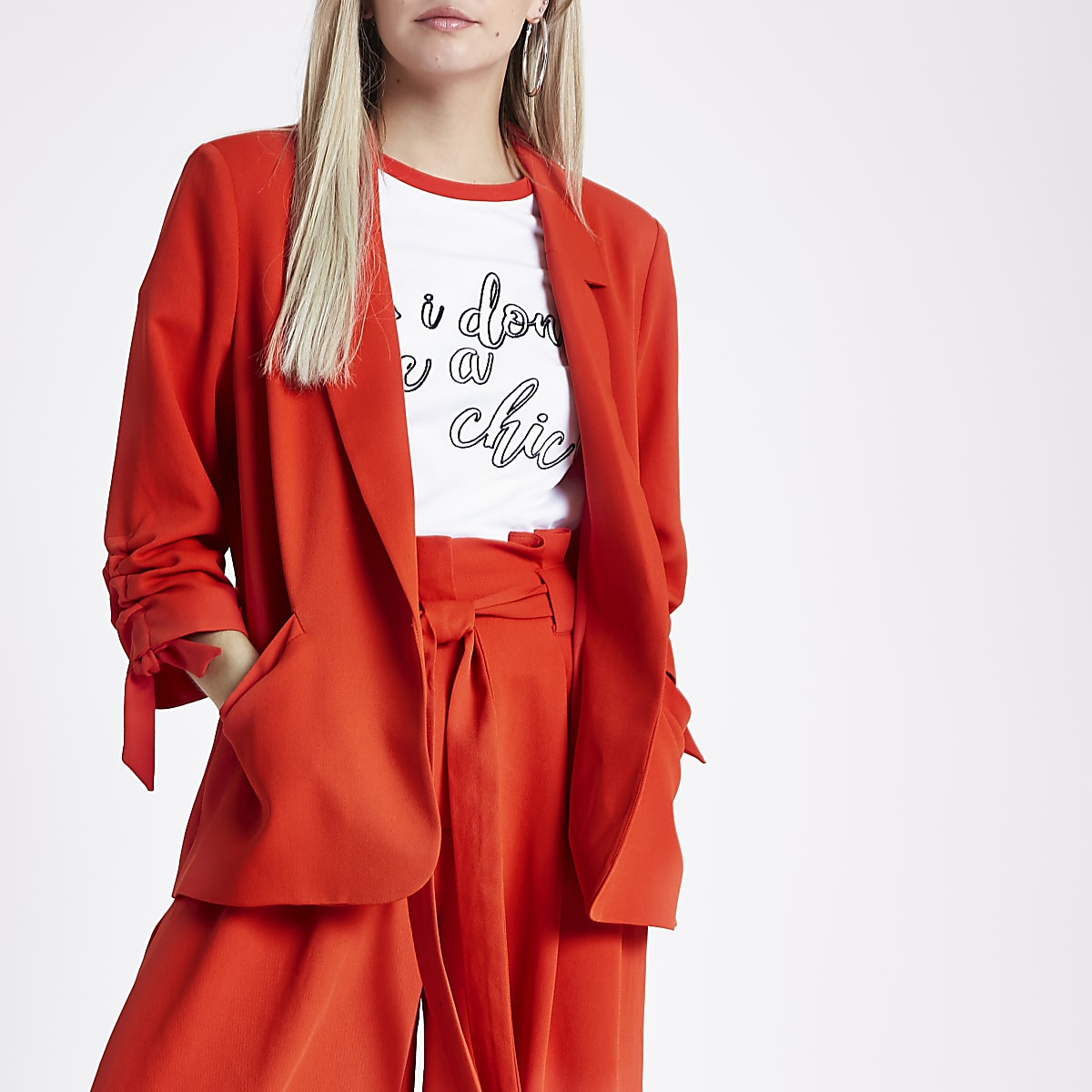 Petite red ruched sleeve blazer