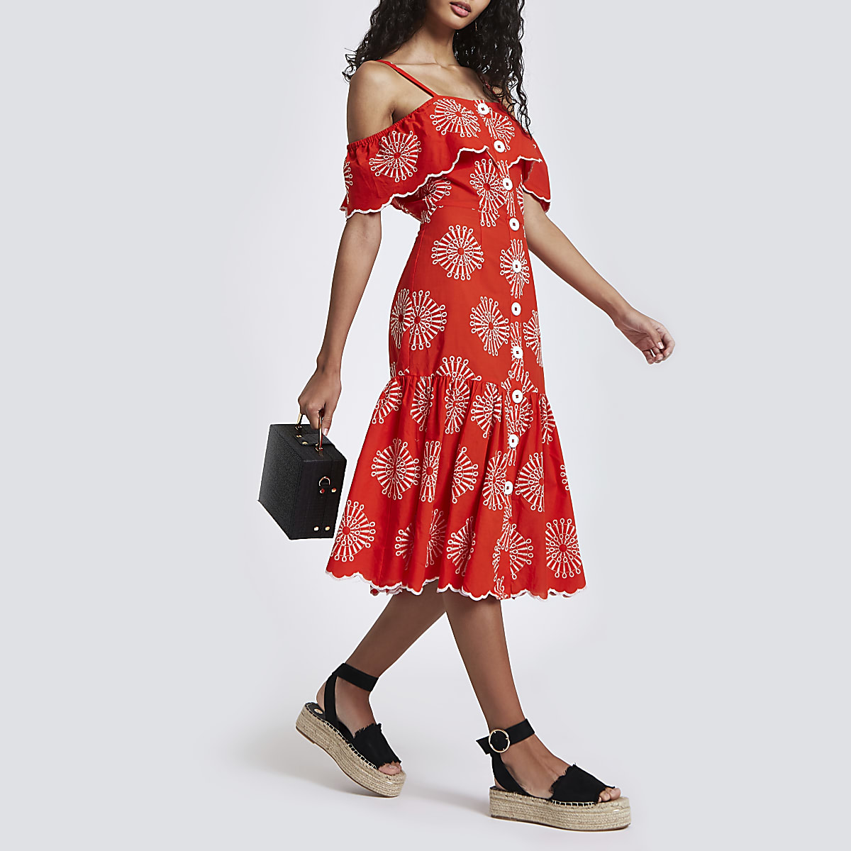 Red embroidered button down cami dress