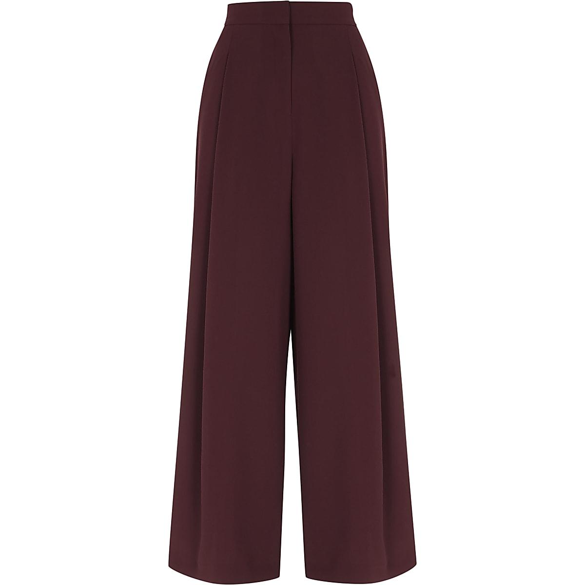 Burgundy side stripe wide leg trousers