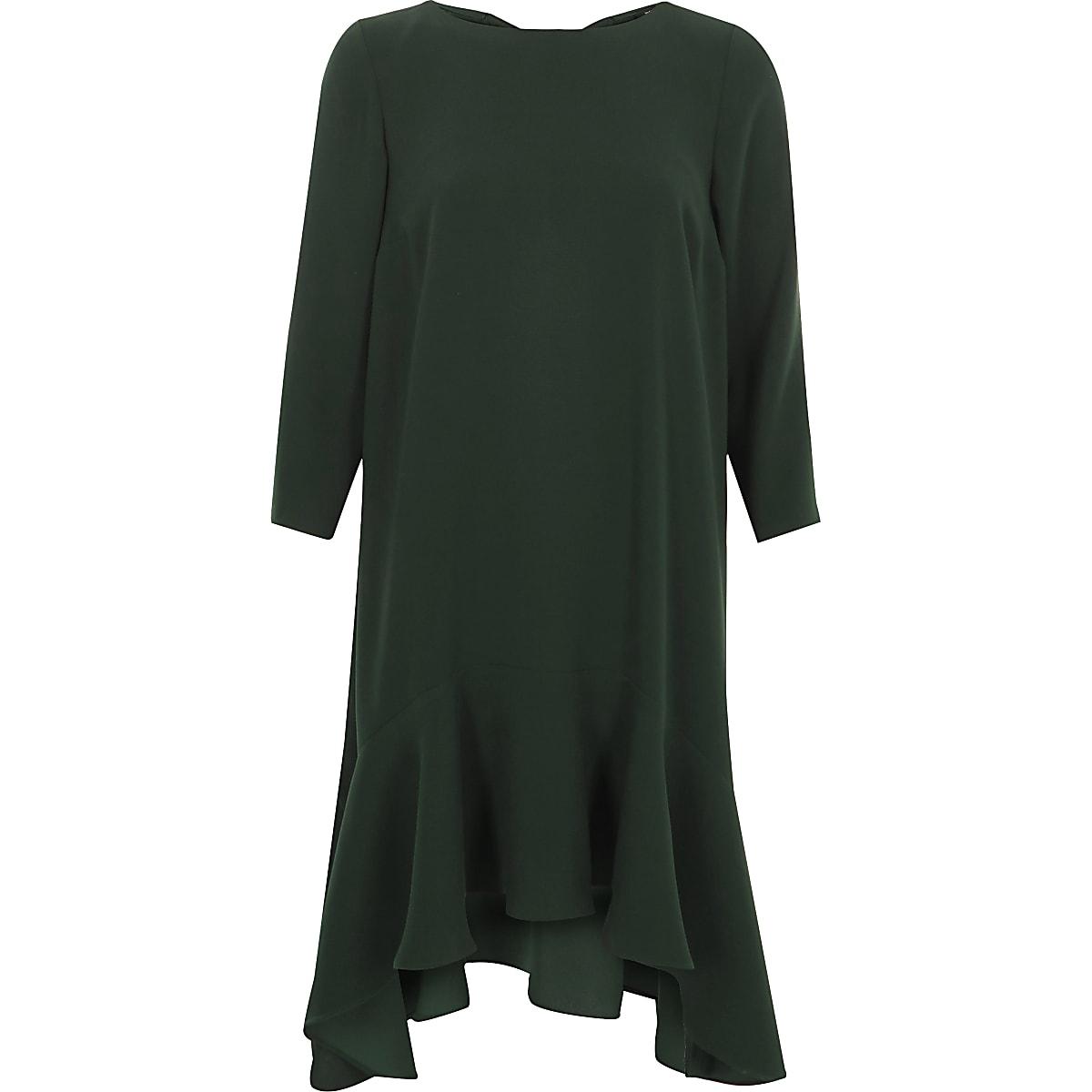 Green frill hem tie back swing dress
