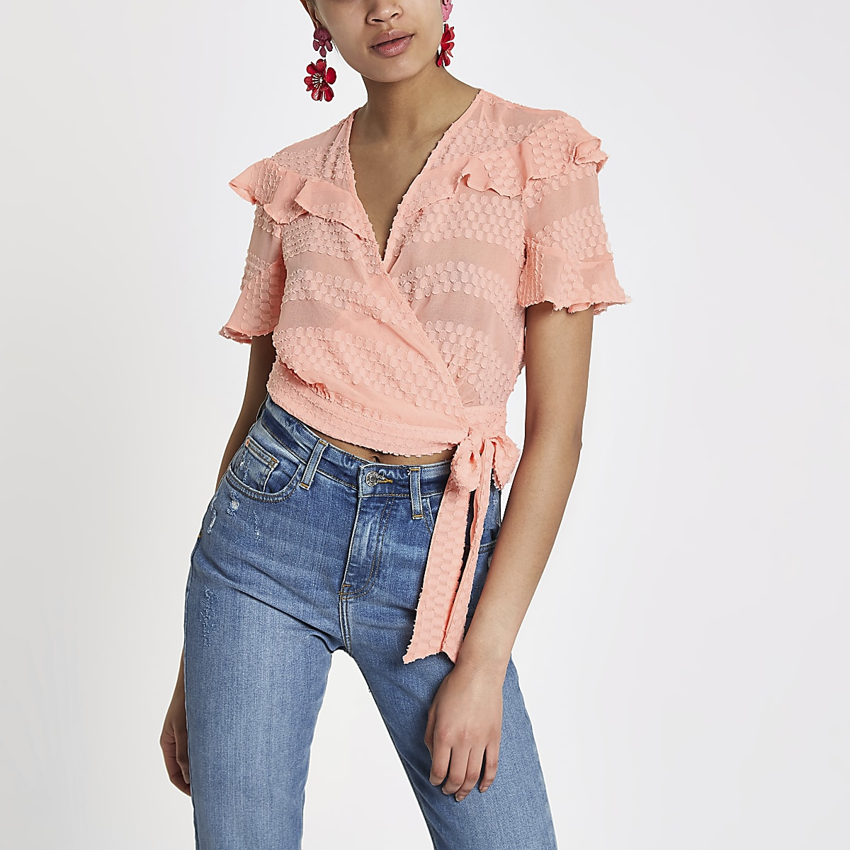 Light pink ruffle frill wrap crop top
