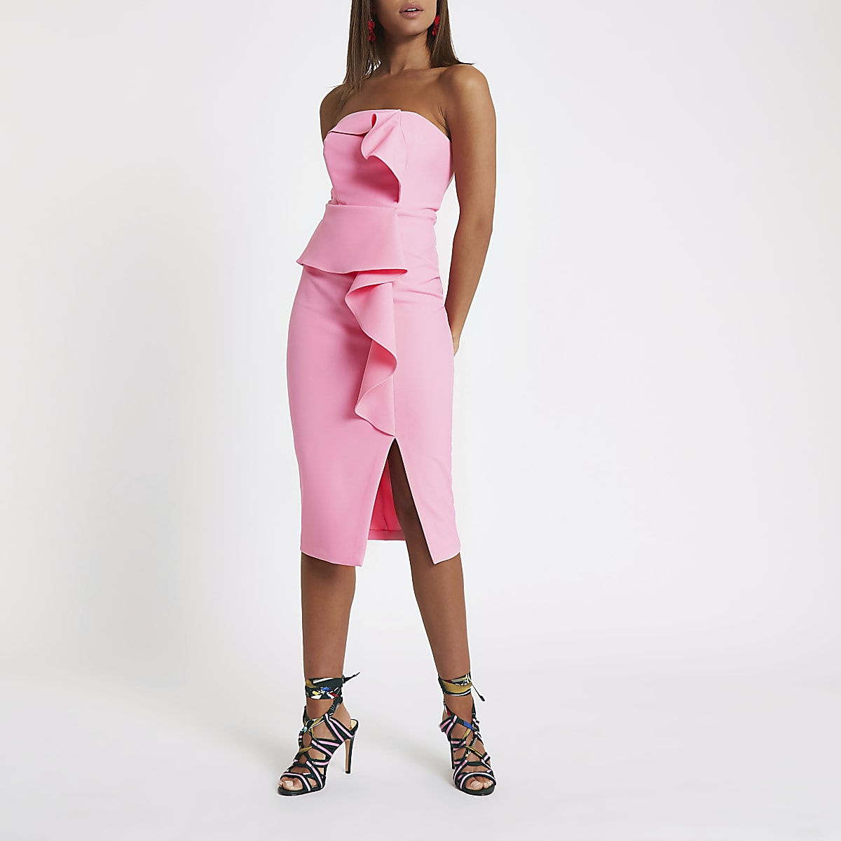 Pink side frill bodycon dress