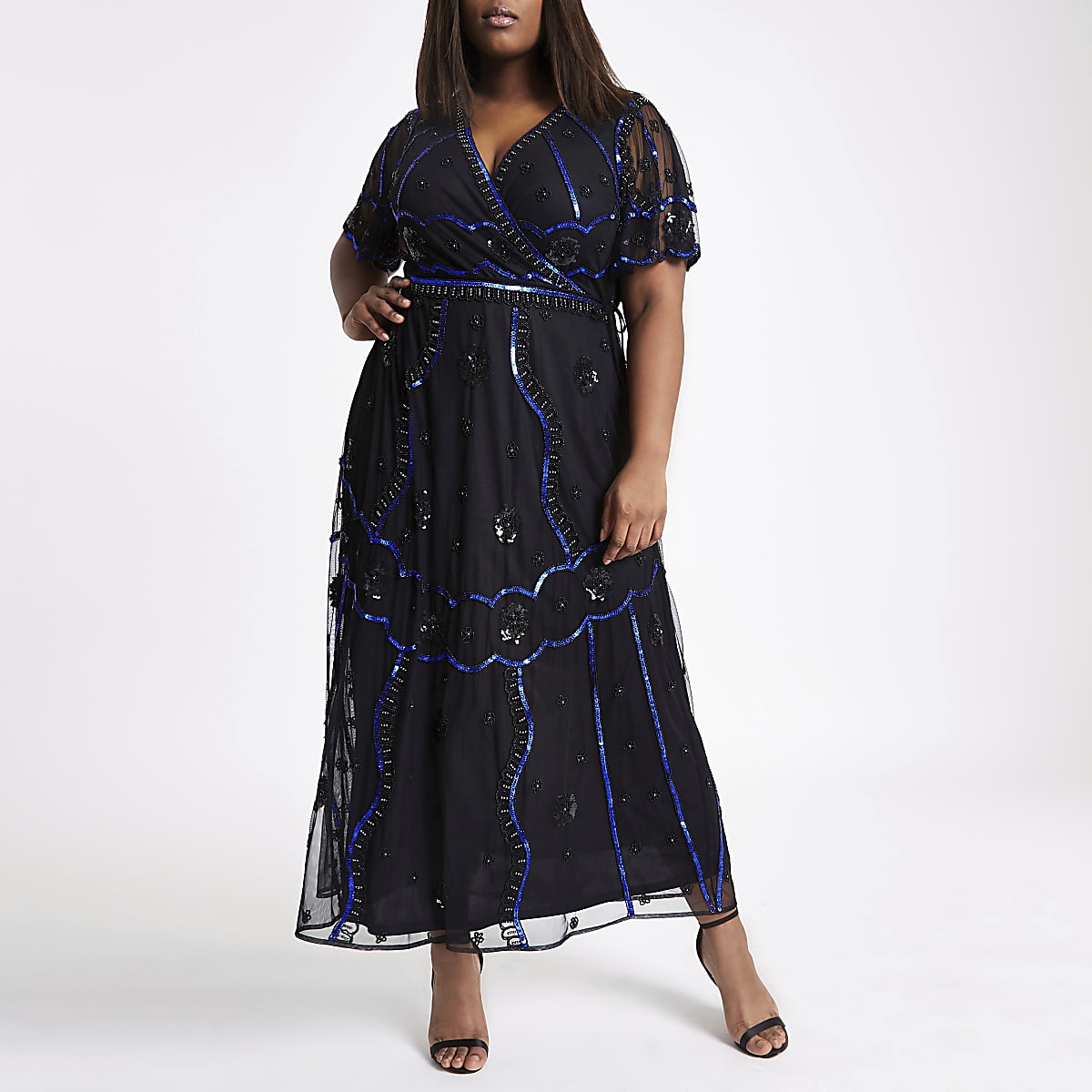 Plus black embellished wrap maxi dress