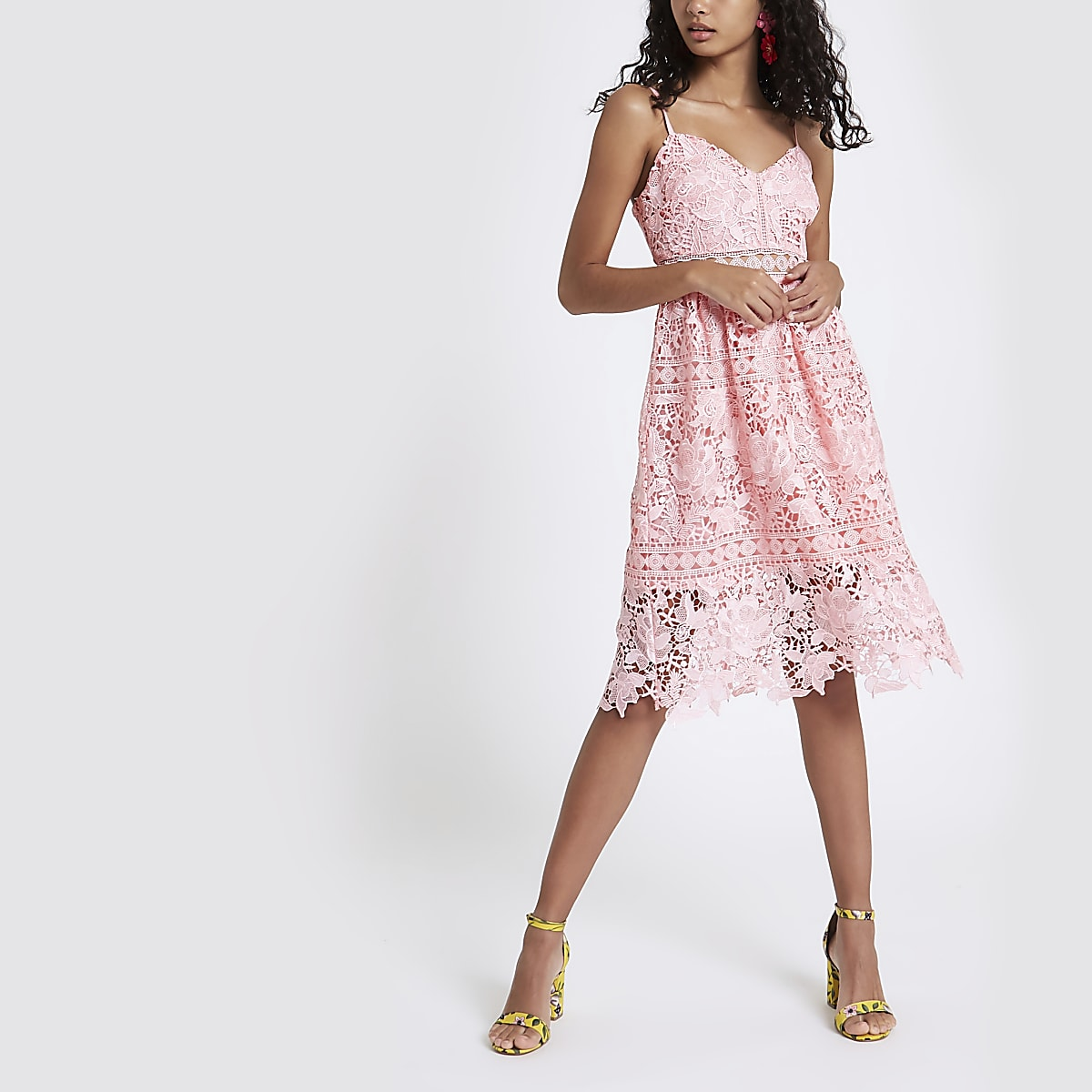5582cec9be8 Pink lace cami midi dress - Slip & Cami Dresses - Dresses - women