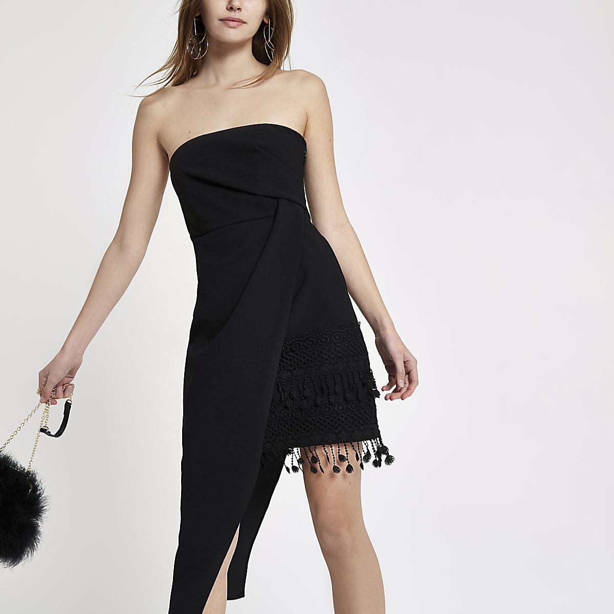 Black tassel hem bodycon dress