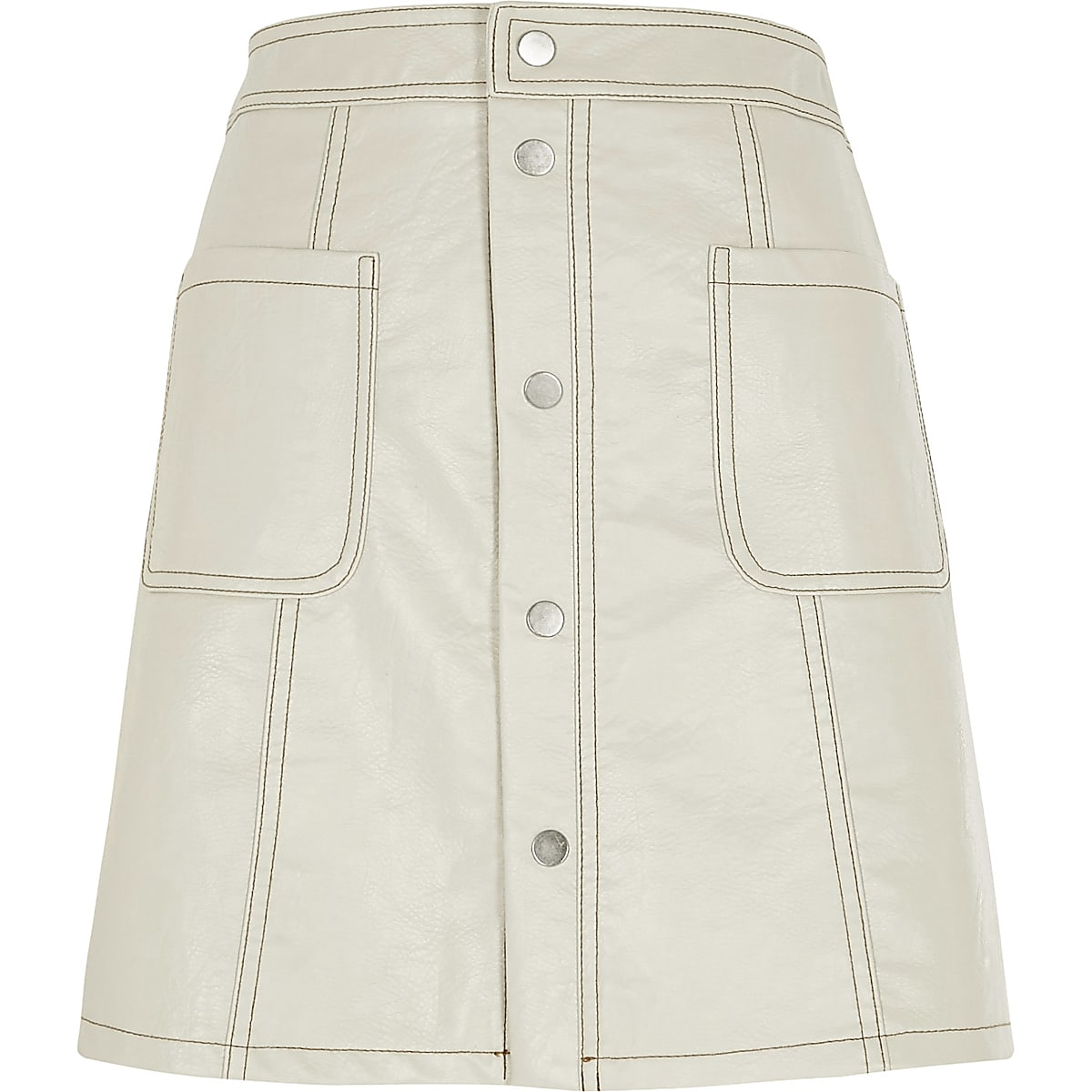 4ebdc5dbe2 Cream faux leather A line mini skirt - Mini Skirts - Skirts - women