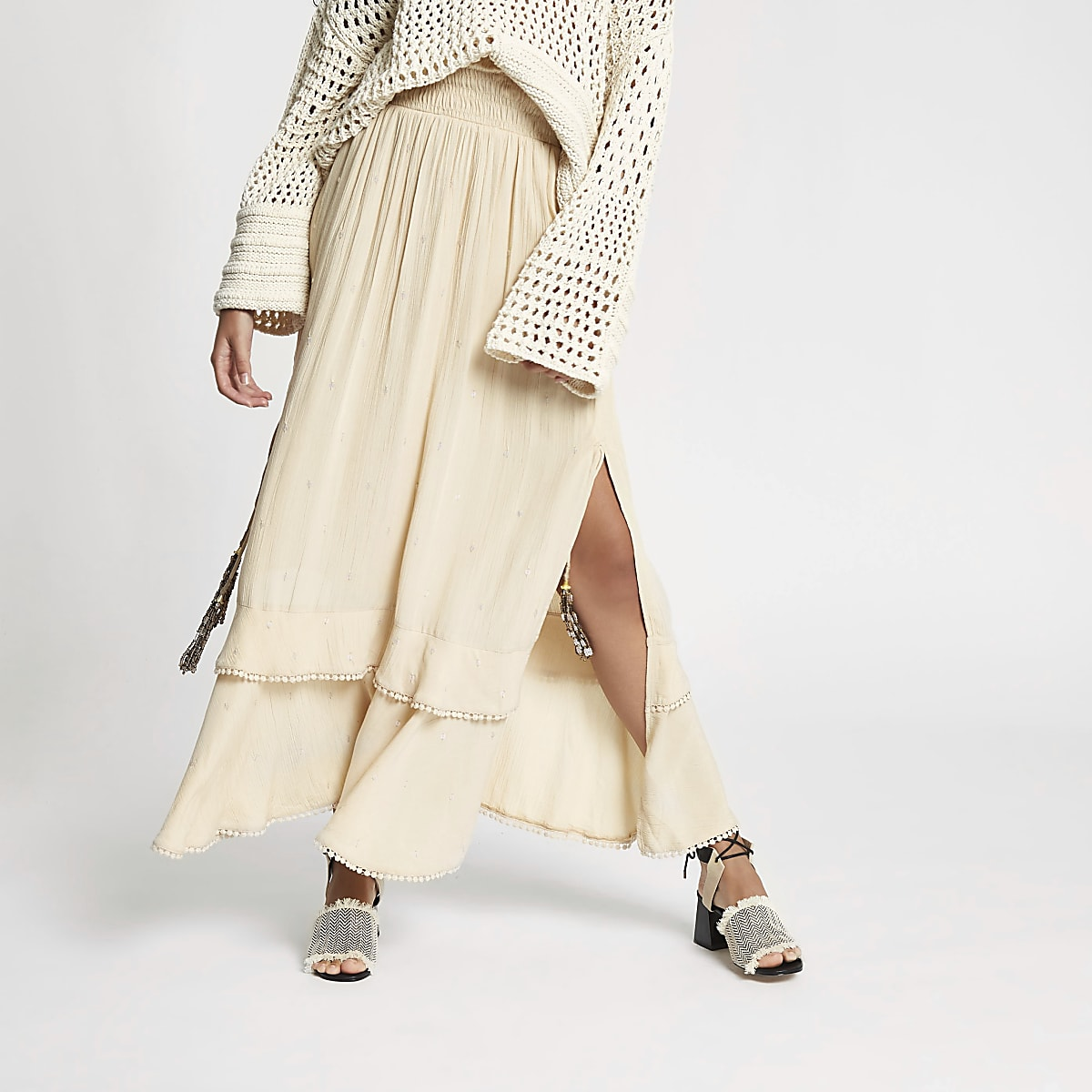 Beige sequin shirred maxi skirt