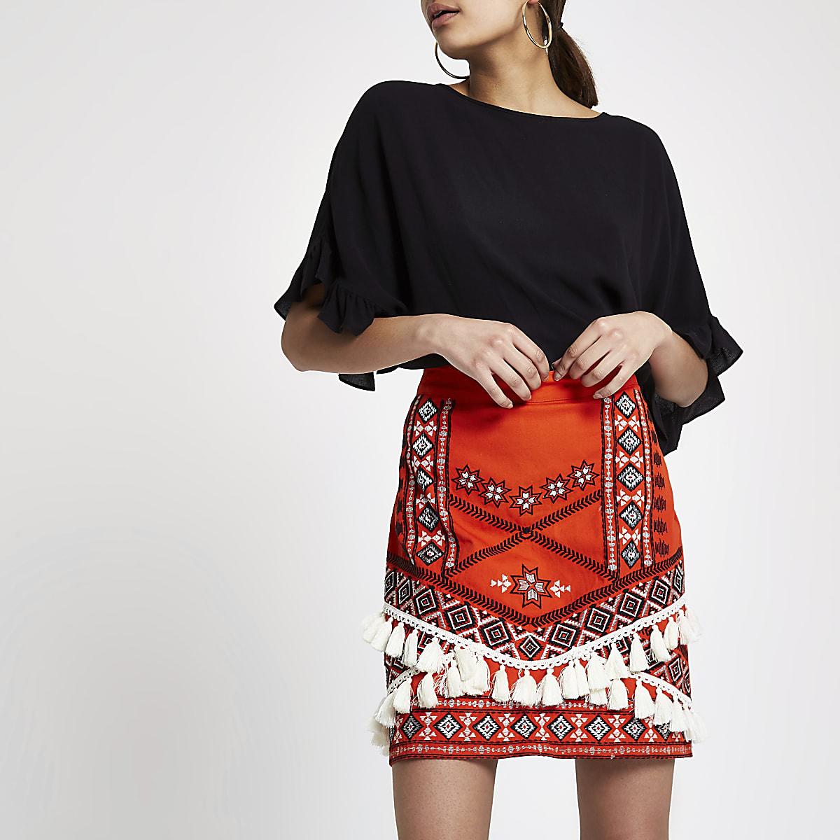 ac2278d5c Red tassel embroidered mini skirt - Mini Skirts - Skirts - women